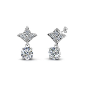 2 Carat Diamond Drop Antique Design Earring