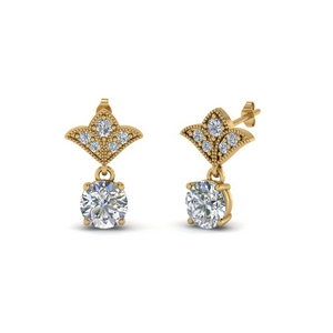 2 Carat Round Antique Drop Earring