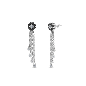 Tassel Halo Black Diamond Earring