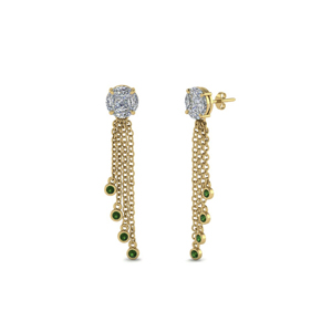 18K Gold Dangle Earring With Emerald