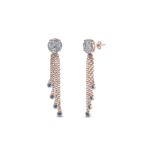 Rose Gold Blue Topaz Earring