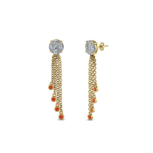 Gold Orange Topaz Earring