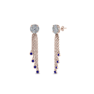 Tassel Dangle Earring With Sapphire