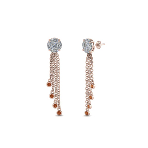 Orange Sapphire Drop Earring