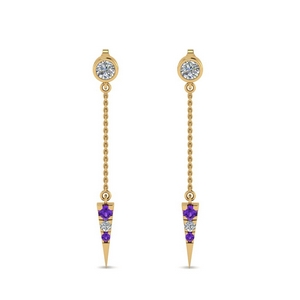 Purple Topaz Chain Drop Earring