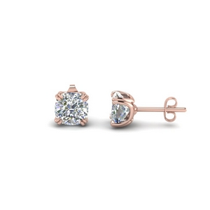 Cushion Stud Earring Two Karat