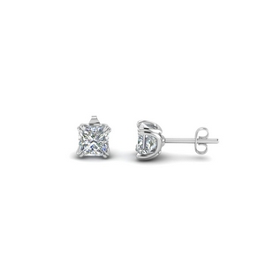 double prong princess cut stud earring(1 ct.) in 18K white gold FDEAR8461PR 0.50CT NL WG