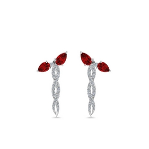 Ruby Twisted Snake Earring