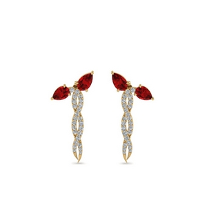 Gold Ruby Pear And Round Earring