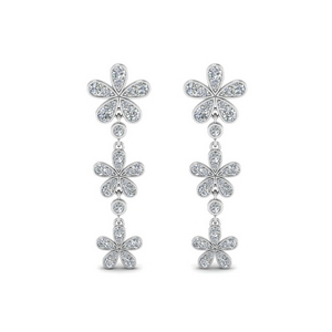 3 Drop Flower Diamond Earring