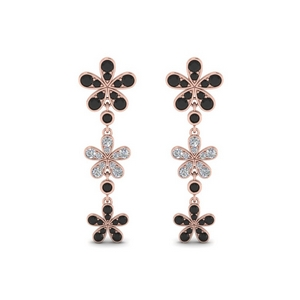 Floral Black Diamond Earring