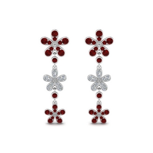 Ruby Floral Earring For Her