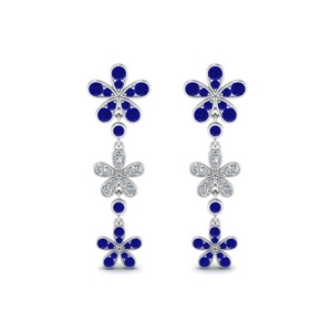 Sapphire Flower Diamond Drop Earring