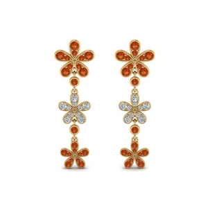 Daisy Earring With Orange Sapphire