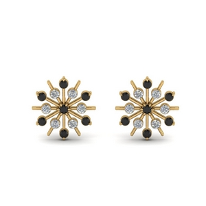 18K Yellow Gold Black Diamond Earring