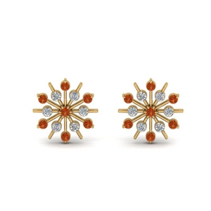 14K Yellow Gold Orange Sapphire Earring