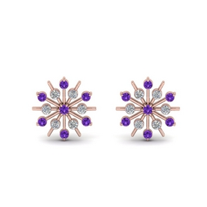 Purple Topaz Snowflake Earring