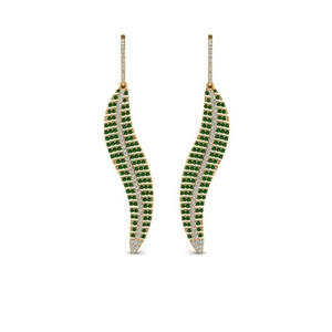 Micropave Leaf Diamond Earring