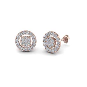 18K Rose Gold Halo Diamond Earring