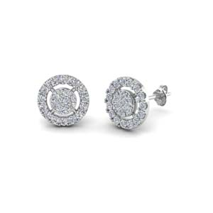 14K White Gold Cluster Earring