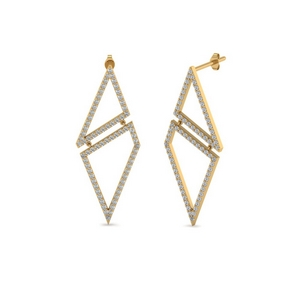 Geometric Diamond Drop Earring