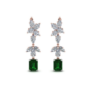 5 Carat Emerald Drop Earring