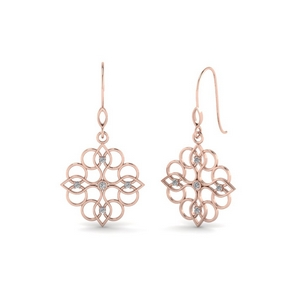 filigree dangle drop diamond earring in 14K rose gold FDEAR85604 NL RG