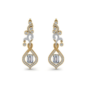 2 Tone Pave Diamond Earring
