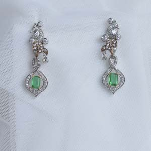 Art Deco Diamond Drop Emerald Earring