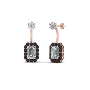 Black Diamond Push Back Earring