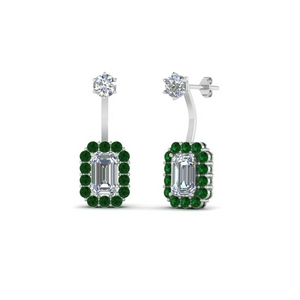 Platinum Emerald Earring For Women