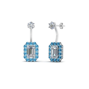 Blue Topaz Front Back Earring