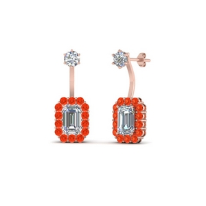 Orange Topaz Front Back Earring