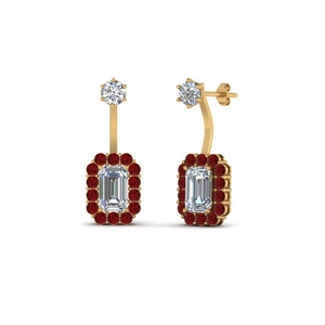 Ruby Gold Push Back Earring