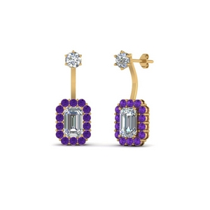 Purple Topaz Halo Earring For Her