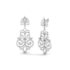 Filigree Dangle Drop Earring In 14K White Gold