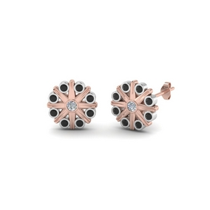 Black Diamond Stud Earring 2 Tone