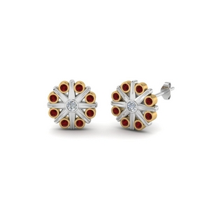 Bezel Flower Ruby Earring