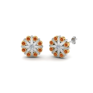 Bezel Flower Stud Earring