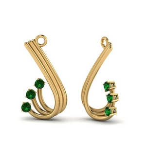 Emerald Curved Earring Jacket For Stud