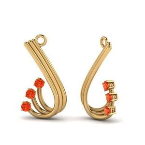 Orange Topaz Curved Earring Jacket