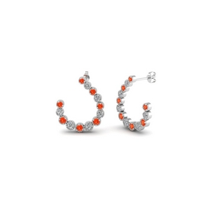 Orange Topaz Milgrain Hoop Earring