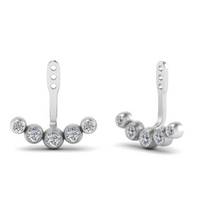 Bezel Diamond Earlobe Ear Jacket