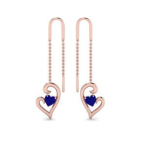 Heart Drop Sapphire Thread Earring