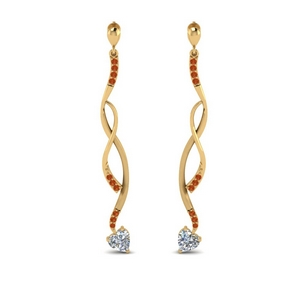 Twisted Drop Orange Sapphire Earring