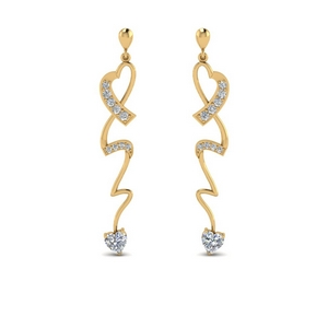 Gold Twist Heart Drop Earring