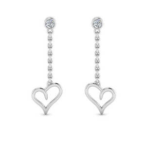 heart drop design diamond earring in 14K white gold FDEAR8820 NL WG