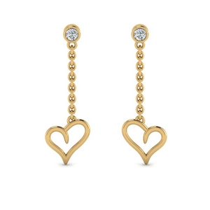 Heart Drop Design Earring