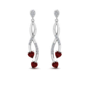 Pave Twist Heart Drop Earring