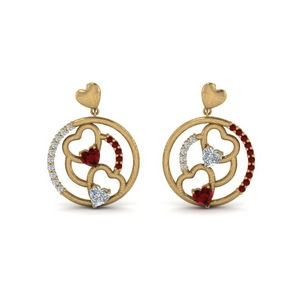 Heart Stud Drop Earring With Ruby